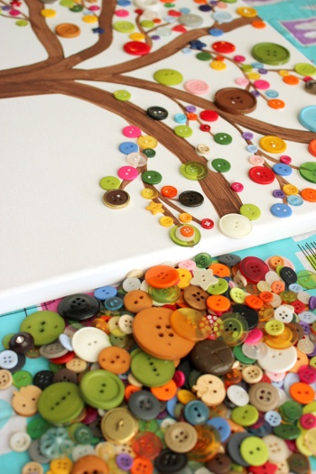 Canvas Tree Button Art