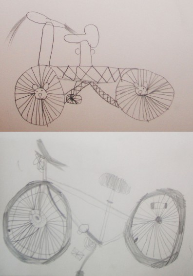 Top- bike drawn from memory. Bottom- drawn after detailed looking and discussion