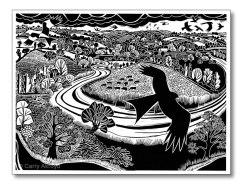 kite-and-river-lino